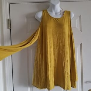 Mustard long sleeve cold shoulder shirt